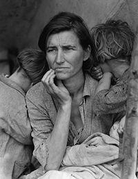 Mère migrante (Migrant Mother), par Dorothea Lange, 1936. L'un des symboles de la Grande Dépression