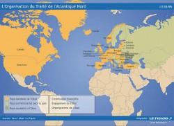 Pays membres de l'OTAN, en 2009 (Source : Le figaro)