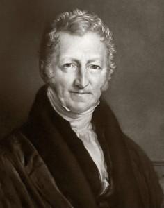 Thomas Robert Malthus, pasteur anglican et économiste britannique de l'Ecole classique.Son nom a donné dans le langage courant un adjectif, « malthusien », pour caractériser un état d'esprit conservateur qui s'oppose à l'investissement et craint la rareté et une doctrine, le malthusianisme, qui impose une politique active de contrôle de la croissance de la population.