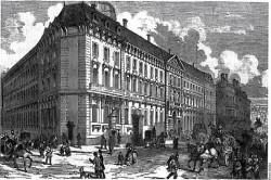 Banque Hottinger&Cie dans les années 1900. D'origine suisse, les Hottinger développent leur activité bancaire à Paris à la fin du XVIII° siècle. Membre fondateur de la Banque de France, Jean-Conrad deviendra Président de la Chambre de Commerce et d'Industrie de Paris. En 1810, il est fait baron d'Empire.