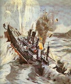 Le torpillage du navire russe Petropavlovsk, coulé le 31 mars 1904