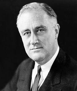 Franklin Delano Roosevelt, président démocrate (1933-1945) à l'origine du New Deal et symbôle d'une révolution politique et économique aux Etats-Unis