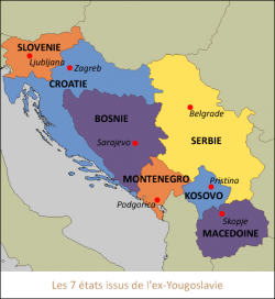 Carte des Etats issus de l'ex-Yougoslavie