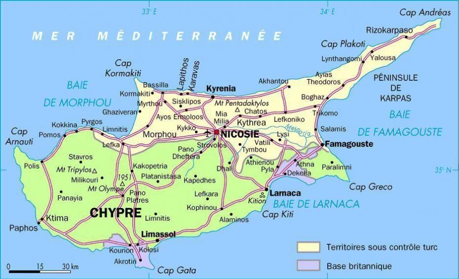 chypre carte touristique