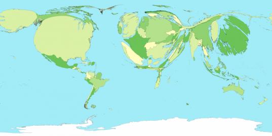 Cartogramme de surface représentant les Etats du monde selon leur PIB