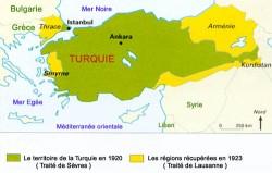 Evolution du territoire turc entre le Traité de Sèvres et le Traité de Lausanne