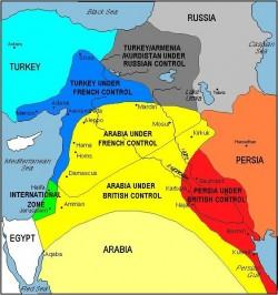 Le Moyen-Orient tel qu'imaginé par les accords Sykes-¨Picot