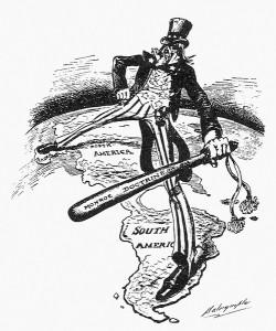 Illustration comique de la vision états-unienne du continent américain selon la doctrine Monroe