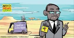 Illustration caricaturale des notions de hard et soft power : Forte de son hard power, la Chine développe son influence et ainsi son soft power à travers le monde, et notamment les pays africains