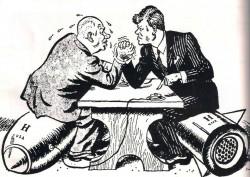 Nikita Khrouchtchev et John Kennedy luttant lors de la crise des missiles de Cuba