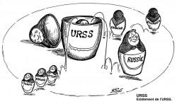 Caricature représentant la dislocation de l'URSS