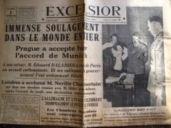 La Une du journal Excelsior résume le sentiment des peuples en Grande-Bretagne, en France et en Italie : le soulagement. C'est en fait le premier acte de la Seconde Guerre mondiale.