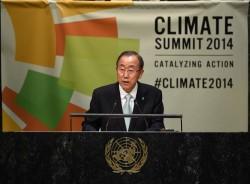 Le Secrétaire Général des Nations Unies, Ban Ki-Moon lors du sommet des Nations Unies sur le climat de septembre 2014.