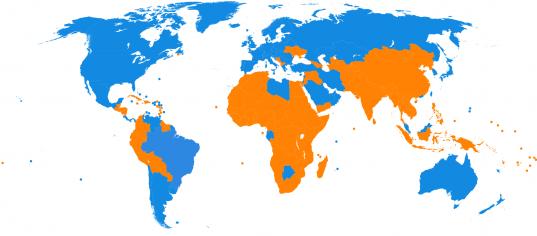 PIB par habitant en 2010 par rapport à la moyenne mondiale