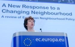 Catherine Ashton, ancienne Haute Représentante de l'Union pour les Affaires Etrangères et la Politique de Sécurité lors de la présentation des nouvelles orientations de la politique de voisinage