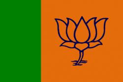 La vague safran du BPJ a déferlé sur les élections indiennes. Ci-dessus, le drapeau du BPJ, le parti nationaliste hindou de Narendra Modi
