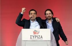 Le leader du parti politique grec Syriza Alexis Tsipras et Pablo Iglesias Turrion, président du parti espagnol Podemos.