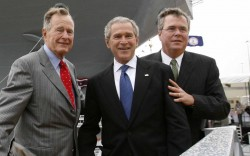 Image #: 2625014    Former President George H.W. Bush, U.S. President George W. Bush, and Governor Jeb Bush, leave together after the christening ceremony of the USS George H.W. Bush at Northrop-Grumman's shipyard in Newport News, Virginia October 7, 2006. The Navy's Nimitz-class aircraft carrier is scheduled to enter service in late 2008.   REUTERS/Kevin Lamarque /Landov