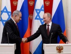 Poignée de main entre le président russe Poutine et le premier ministre israélien Netanyahou