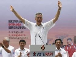 Le Premier ministre Lee Hsien Loong (PAP) à un meeting, le 8 septembre 2015, trois jours avant le scrutin.