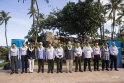 Les douze représentants des pays membres du Partenariat Trans-Pacifique lors d'une rencontre à Hawaï en juillet 2015 qui avait été révélatrice de discordances.