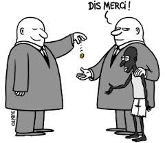 Une caricature traitant des relations asymétriques qu'entraîne l'aide au développement.