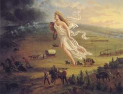 American Progress, John Gast, 1872. Représentation allégorique de la Destinée manifeste : les Etats-Unis personnifiés en femme apportent le progrès vers l'Ouest.