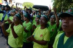 Des partisans du parti au pouvoir (l'Union pour la solidarité et le développement) lors de la campagne électorale