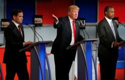 De gauche à droite : Marco Rubio, Donald Trump et Ben Carson, le 10 novembre dernier.