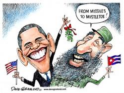 Cartoon réalisé par l'américain Dave Granlund, représentant Barack Obama et Fidel Castro, publié le 18 décembre 2014.