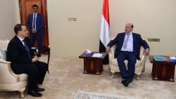 Le président Hadi et l'émissaire des Nations unies Ismail Ould Cheikh Ahmed.