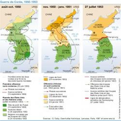 Carte reprenant les différentes étapes de la Guerre de Corée (1950-1953). Le conflit a fait des millions de victimes.