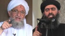 Ayman al-Zawahiri (gauche) et ABou Bakr al-Baghdadi (droite) dirigent respectivement Al Qaïda et l'Organisation de l'Etat Islamique, deux organisations concurrentes depuis 2013
