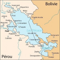 Carte montrant la situation géographique du Lac Titicaca, ainsi que sa division entre les deux Etats.