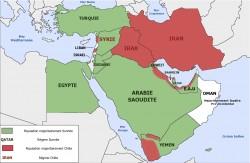 Répartition des chiites et sunnites au Moyen-Orient