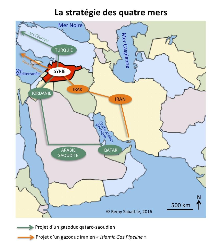 Les deux projets concurrents de la stratégie des quatre mers chère à Bachar al-Assad
