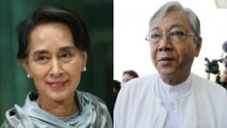 Bien que le nouveau président birman soit Htin Kyaw (à droite), les élections ont consacré la victoire de celle qui est surnommée « l'Orchidée de fer » par ses partisans : Aung San Suu Kyi (à gauche), prix Nobel de la Paix en 1991.