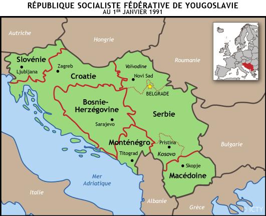 Carte des différentes Républiques yougoslaves