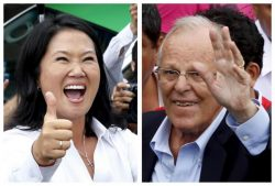 A combination file photo shows Peru's presidential candidates (L-R) Keiko Fujimori after voting and Pedro Pablo Kuczynski arriving to vote, during the presidential election in Lima, Peru, in these April 10, 2016 file photos.  REUTERS/Mariana Bazo (L) and Guadalupe Pardo/Files