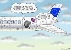 Cartoon publié en Slovaquie, réalisé par Marian Kemensky. Le RU quitte l'UE, et saute dans l'inconnu.