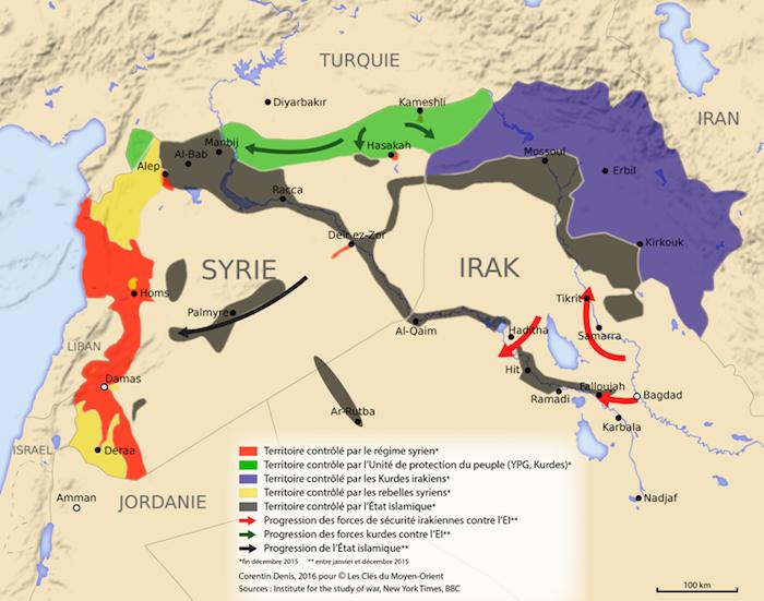 Carte du conflit Syrien et des différents acteurs
