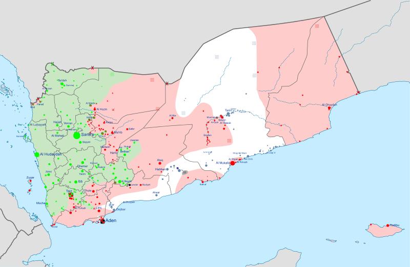 Partition du Yémen donnant un aperçu des territoires : les Houthis chiites en vert, les loyalistes sunnites en rouge et Al Qaeda en blanc.