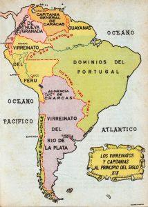 Carte des frontières sud-américaines au début du XIXe siècle. Source : Gustavo Pons Muzzo (1962), Las fronteras del Perú : estudio histórico