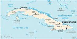 Localisation de la prison de la baie de Guantánamo sur l'île de Cuba
