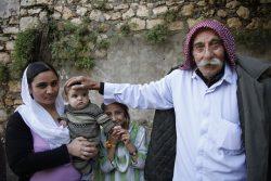 Famille de réfugiés yézidis à Lalesh en Novembre 2014