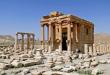 Un temple à Palmyre, pillé puis détruit, dont les objets archéologiques sont vendus par l'EI.