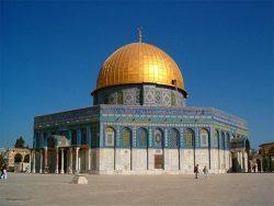 Le Dôme du rocher (ou Qubbat As-Sakhrah en arabe) sur l'esplanade des Mosquées ou Mont du Temple pour les juifs.