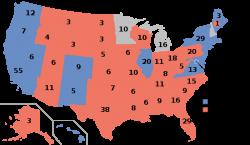 Résultats Etats par Etats des élections américaines 2016, avec le nombre de grands électeurs attribué à chaque Etat.