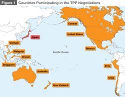 Carte des pays signataires du TPP