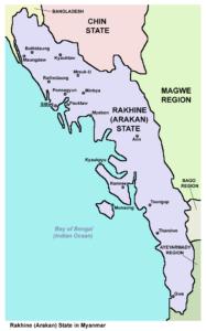 L'état de Rakhine au Myanmar, où se trouve le village d'Inn Din.